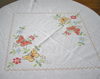Vintage Cross Stitch Hand Embroidered Round Tablecloth