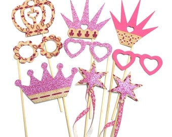 Photo Booth Props - 9PC Princess Party Photo Booth Props