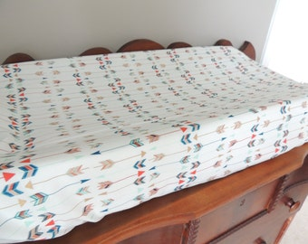 Changing Pad Cover ~ Arrows, Modern, Woodland, Contoured Baby Changing Pad Cover, Girl, Boy, Neutral, Rustic, Nursery