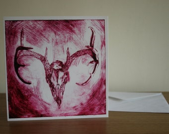 Stags Skull drypoint print greeting card - Magenta