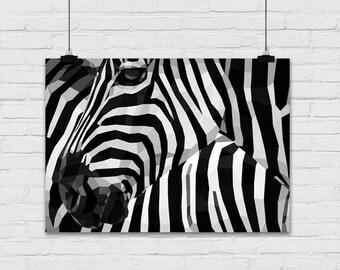 Art print / polygon / Zebra