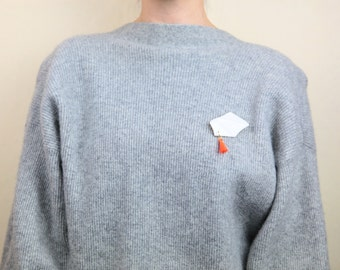 Recycled Porcelain Statement Sweater Clip Vintage White With Orange Leather Tassels, Geometric, Sweater Clip from Nakut