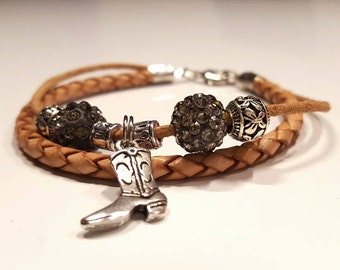 Cowgirl boot bracelet - handmade
