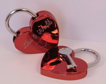 Love lock red heart with engraving