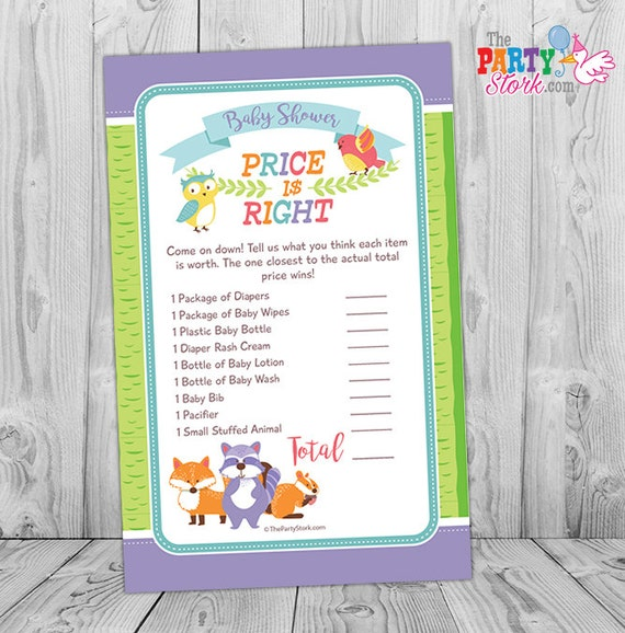 Woodland Price Is Right Baby Shower Game: Printable Forest