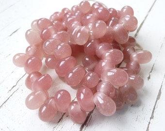 "Handmade Dusky Rose Indonesian Glass Teardrop Beads, 9"" String"
