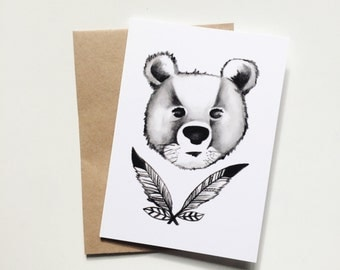 Feather Bear Greeting Card
