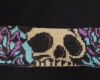 Handmade Bracelet, Halloween Inspired, Skulls and Flowers, Loom Beaded