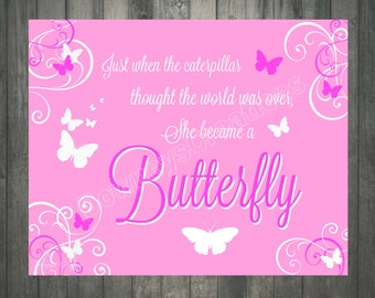 Pink BUTTERFLY Wall Print/Girls room/Wall Decor/Girl/Table Decor/INSTANT-DOWNLOAD/ 8x10 Sign/