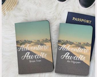Valentine day Adventure awaits passport holder,couple passport cover,leather passport wallet,wanderlust adventure,couple gift,couple item