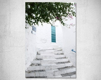 Blue door photography Greek summer Greece home decor Travel photography White home decor Door fine art print turquoise summer decor gift