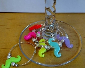 Colorful mustache wine charms set of 6