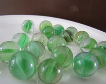 Vintage marbles, Vintage Cat's Eye glass marbles, Vintage green glass marbles, marbles game, 1950s marbles, old marbles, craft supply