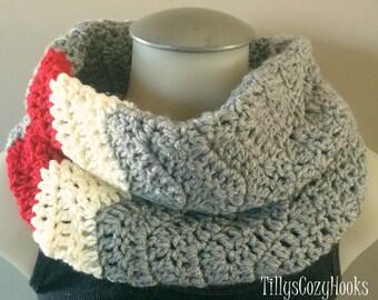 Crochet Cozy Cowl, Sock Monkey, Chevron Cowl, Infinity Scarf, for Adults, Soft Cowls, Adult Cowls, Warm, Grey Infinity Scarf