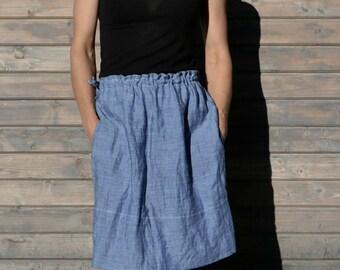 Linen skirt / blue Ruffle Skirt, / Flax linen skirt / Loose Linen skirt / simple skirt