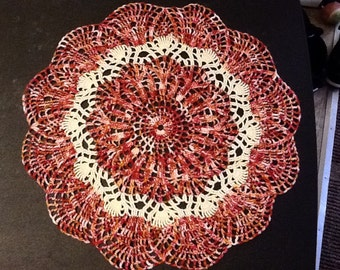 hand crocheted doily hand dyed thread red pink rust