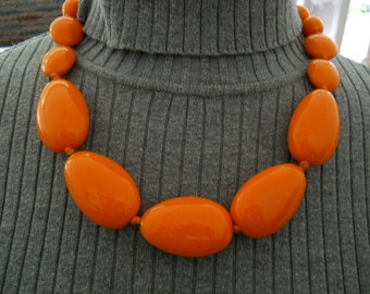 Vintage Lucite Stone Orange Necklace #534