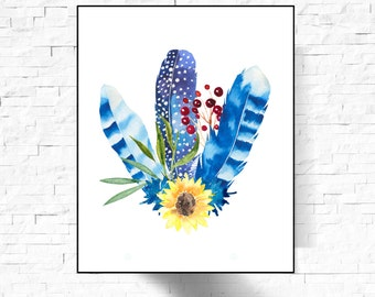 Boho Style Feathers Printable Art Print, Boho Bouquet, Feathers,Flowers,Leafs , Feather printable , Feather Poster, Feathers Printable Art