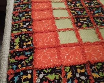 Dinosaur Flannel Rag Quilt   Orange/Green/Black/Multi Color