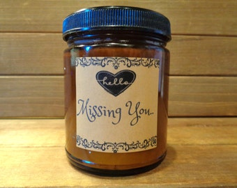 Personalized custom 8 oz beeswax scented  candle in amber jar