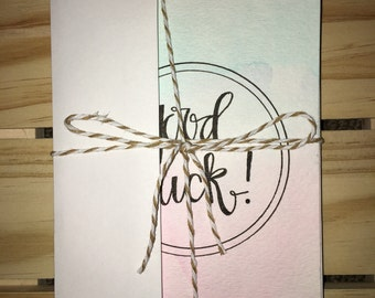 """Watercolor """"Good Luck"""" Card Set of 4"""