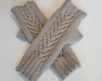 Hand Knitted Cabled Fingerless Mittens