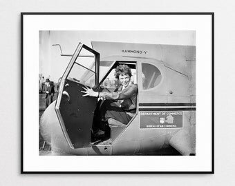 Amelia Earhart in Airplane - Giclee Print - Wall Art - Vintage Photo - Aviation - Woman Pilot - Aviator - Airplane Decor - Photograph