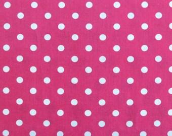 Pink polka dot fabric - large polka dot fabric - Quilting fabric - Patchwork fabric - 100% cotton fabric - polkadots - Dressmaking