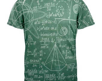 Math Geek Formulas Chalkboard All Over Adult T-Shirt