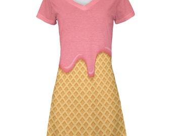 Pink Melting Ice Cream Cone All Over Juniors V-Neck Dress
