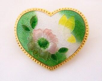 Vintage Heart Brooch, Vintage Cloisonne Brooch, Cloisonne, Heart Pin, Heart Brooch, Gold Tone, Costume Jewelry