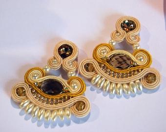Handmade Soutache Earrings, beige soutache earrings, soutache jewelry