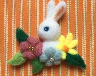 Rabbit in Flowers Needle-felt Wool Brooch