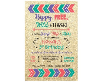 Happy, Free, Wild & Three! Birthday Invitation
