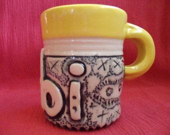 Colorful Vintage Coffee Mug Tea Cup 'Gobi' Unique Handmade