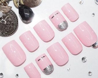 Pink and silver • Handpainted False Nails • Fake Nails • Press on Nails • Stick on Nails