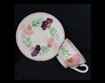 Blue Ridge Pottery Cup and Saucer FLOWER WREATH Coffee Tea Set Hand Painted Pink Purple Floral Southern Potteries (B15) 8058