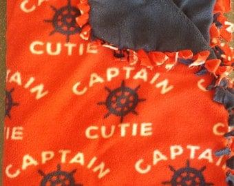 Captain Cutie fleece tie blanket