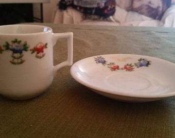 Vintage Kyotoem China Mini Teacup and Saucer