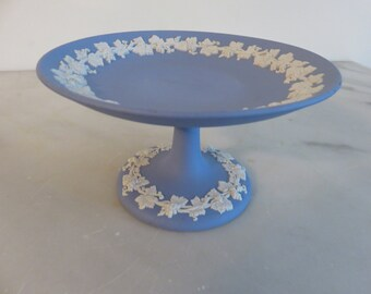 Wedgwood Blue Jasperware footed cake plate