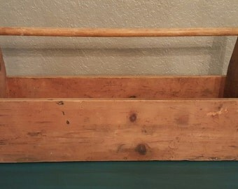 vintage wood tool box industrial tool box LARGE