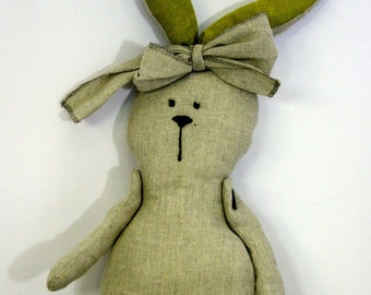 Stuffed bunny, doll,Organic toy, Kids toys, Children toy, Sewed doll, rabbit toy, Easter,Gift,Linen,Natural,Rabbit,Stuff Animal,