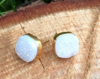 White Druzy stud earrings- 14k over sterling silver