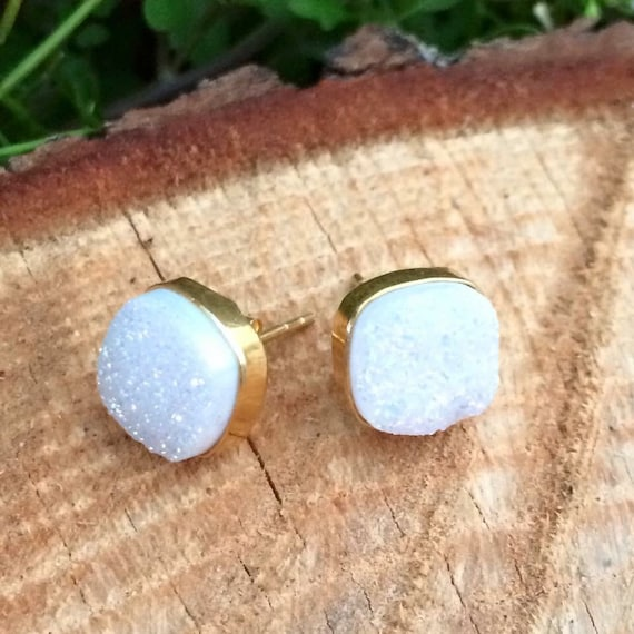 White Druzy stud earrings- 14k over sterling silver