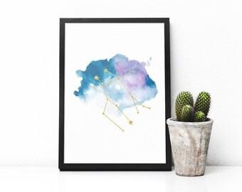 Printable Gemini constellation art, Zodiac Gemini print, Blue watercolor art and gold, Gemini star sign, Astrology poster