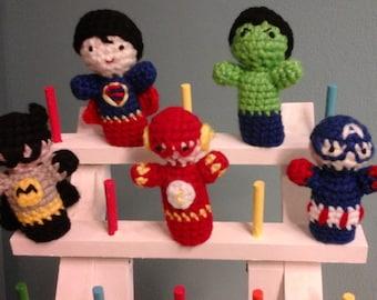 Superhero finger puppets, set of five.