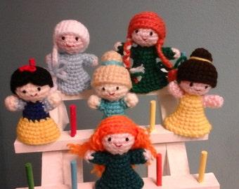Princess finger puppets, set of six.