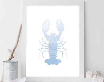 Blue Lobster Print, Lobster Print, Lobster Art, Nautical Lobster, Nautical Nursery Art, Nautical Home Decor, Bathroom Print, Nautical