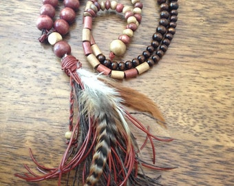 boho style necklace , native tassels