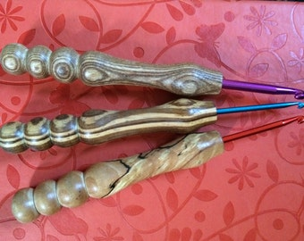 Hand turned wooden handle crochet hooks